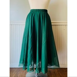 Vintage Jennifer Olive Green Sheer Overlay Skirt